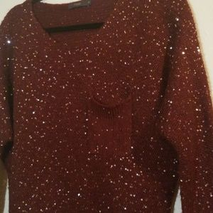 THML Sweaters - Maroon sweater with sequence detailing